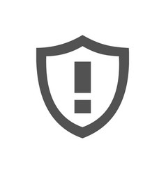 warning shield icon on a white background vector image