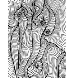 Waves curly abstract psychedelic coloring page vector