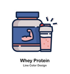 Whey protein line color vector