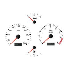 White car dashboard set vector