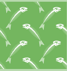 white fish bone skeleton seamless pattern vector image