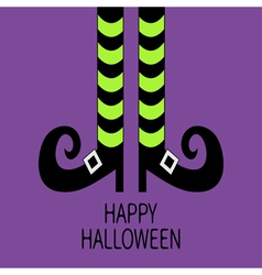 Witch legs with striped socks and shoes Happy vector image