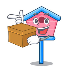 With box character cute wooden bird house in park vector