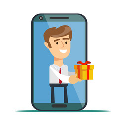 young man from smartphone screen sending present vector image
