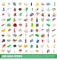 100 asia icons set isometric 3d style vector image vector image