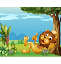 A king lion relaxing under a big tree vector image vector image