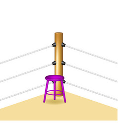 boxing corner with purple wooden stool vector image vector image