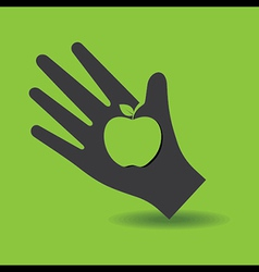 Human hand with apple symbol concept vector image