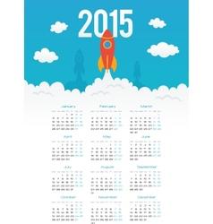 Startup rocket in flat style 2015 calendar vector image vector image