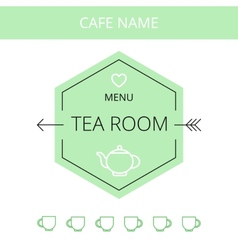 Tea room business card template vector
