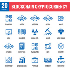 blockchain cryptocurrency icons vector image