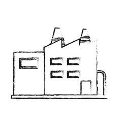 Blurred silhouette cartoon building industrial vector