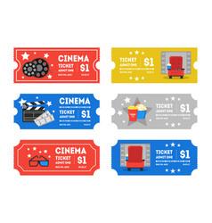 cartoon cinema tickets small set vector image