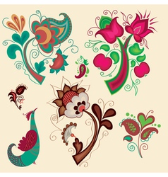 Set of russian patterns vector image