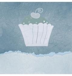 Vintage cupcake birthday card vector image