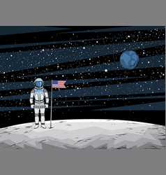 astronaut with flag after on lunar surface vector image