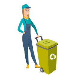 Caucasian builder pushing recycle bin vector