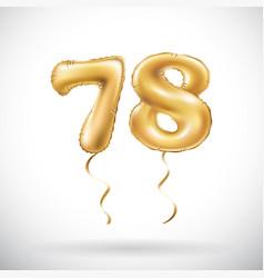 golden number 78 seventy eight metallic balloon vector image vector image