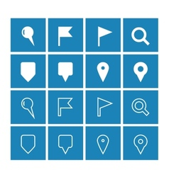GPS and Navigation icons on blue background vector image