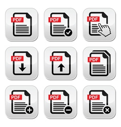 PDF download and upload buttons set vector image vector image