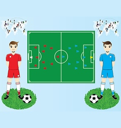 soccer field and players vector image vector image