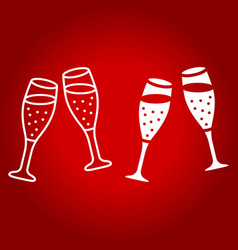 two glasses of champagne line and glyph icon vector image vector image