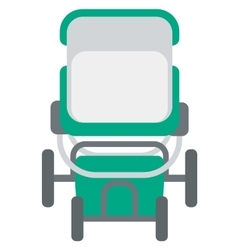Green baby carriage vector image
