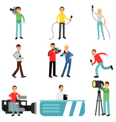journalists at work set reporters and cameramen vector image