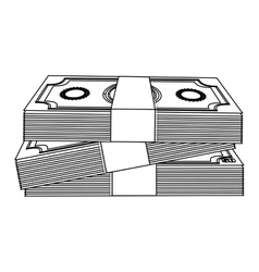 monochrome contour with stacked banknote vector image