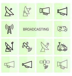 14 broadcasting icons vector image