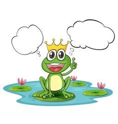 A thinking frog with a crown vector image