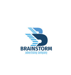 advertising agency brainstorm letter b icon vector image