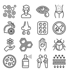 allergies icons set on white background vector image