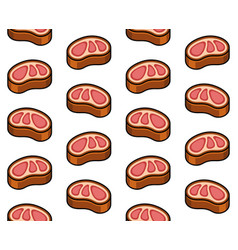 beef steak meat seamless pattern on white vector image