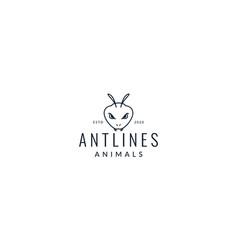 Black ant head line logo design vector