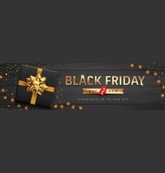 black friday sale gold message black gift box vector image