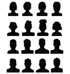 black silhouettes of human heads vector image