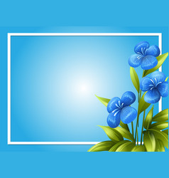 Border template with blue flowers vector