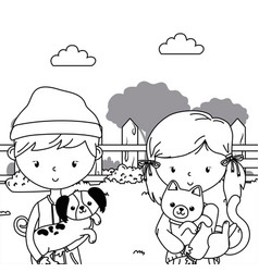 boy and girl with dog and cat design vector image