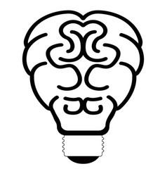 brain lightbulb outline vector image