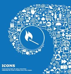 burning match icon Nice set of beautiful icons vector image