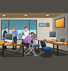 Business people receiving a massage therapy in vector