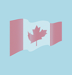canada flag on blue background wave stripe vector image