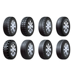 car tires isolated icons vehicle spare parts vector image