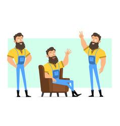 Cartoon bearded lumberjack character set vector