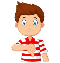 Cartoon boy giving thumb down vector