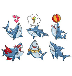 cartoon shark set vector image