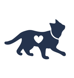 Cat sillhouette with heart shape vector