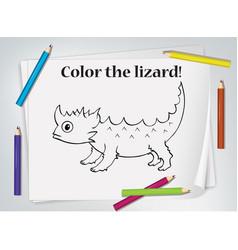 Children lizard coloring worksheet vector