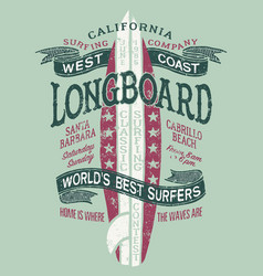 Classic longboard west coast california surfing vector
